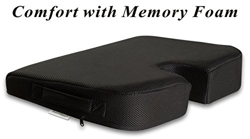 TravelMate Large Medium-FIRM Wellness Seat Cushion (Size: 17 x 13 x 3 inches. Color: Black) (Seat Cushions For Back Pain compare prices)