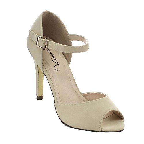 BONNIBEL ALINA-1 Women's Peep Toe Stiletto Ankle Strap Dress D'orsay Pumps,NUDE,8