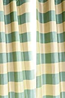 Faux silk dupioni checks lined rod pocket curtain/panel