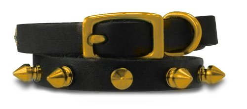 Genuine Leather Cat/Puppy Collar with Spikes, 24 Karat Gold