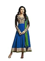 Mandani Fashion women's Fuax Georgette Party Wear Unstitched dress material(SF23_Blue color)
