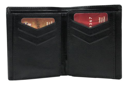 Gents Black Real Leather Wallet Case With Credit Card & Coin Slot-WLT321606