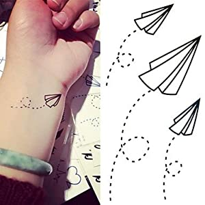 Paper Airplanes Paper Plane Tattoo Stickers Temporary Tattoos(2 pc