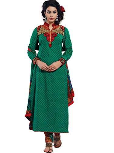 Green Cotton Semi Party Wear Zari Thread Patch Embroidery salwar Suits 772