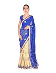 Ctc Mall Blue & Gold Faux Georgette And Net Saree