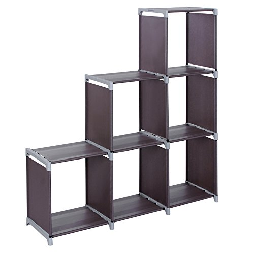SONGMICS 3-tier Storage Cube Closet Organizer Shelf 6-cube Cabinet Bookcase Dark Brown ULSN63Z Kids 3 Shelf Bookcase