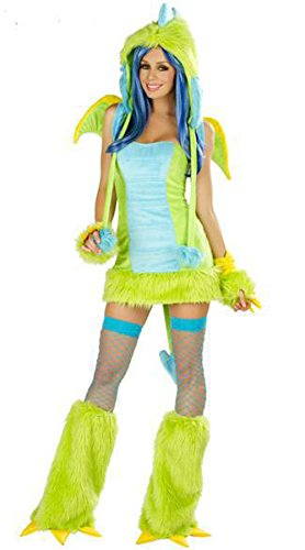 Sunday Women's Cosplay Halloween Costumes Sexy Dinosaur Free Size Suits Green
