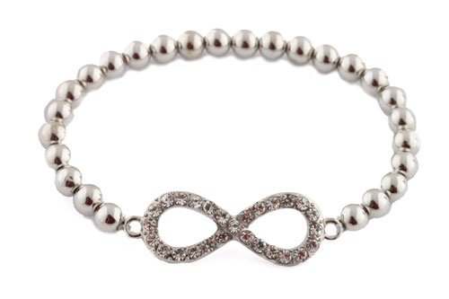 Ladies Silver  Clear Stones Infinity Style Shamballah