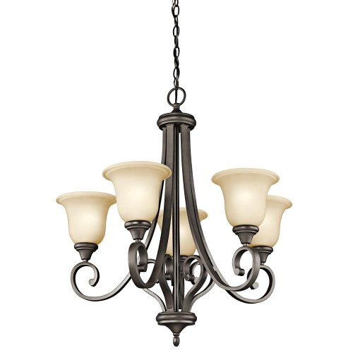 B008F9ZFXK Kichler Lighting 43156OZ Monroe 5-Light Chandelier with Light Umber Etched Glass, Olde Bronze Finish