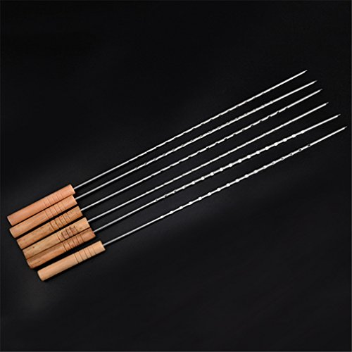 VolksRose® 6 Pcs Stainless Steel Barbecue Skewers Set - Wide BBQ Kabob Grilling Sticks with Wooden Handle to Protect Your