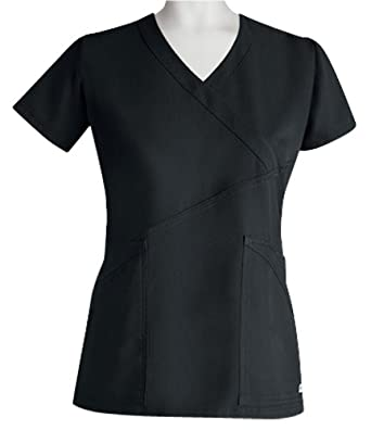 Grey's Anatomy Junior Fit 3 pocket Criss-Cross Fashion Wrap Scrub Top (Black, X-Small)