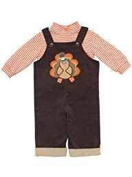 Rare Editions - Boy s Newborn or Infant Brown Turkey Corduroy Overall 6 months