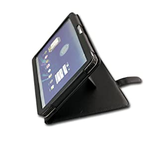 Navitech Black Genuine Premium Leather Flip Carry Case With Adjustable Stand For The Motorola Xoom Google Android 3.0 Honeycomb , 10.1 inch tablet (March 2011 Release ) 3G & 4G WI-FI 16 GB 32 GB 64 GB