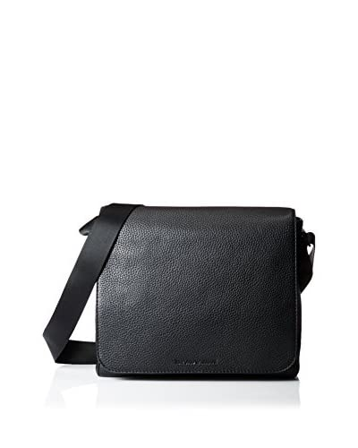 Emporio Armani Grained Leather Messenger, Black, One Size
