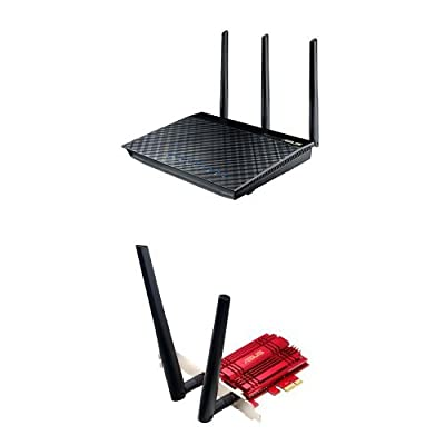 ASUS RT-AC66U Dual-Band Wireless-AC1750 Gigabit Router & ASUS Wi-Fi PCI Express Adapter (PCE-AC56)