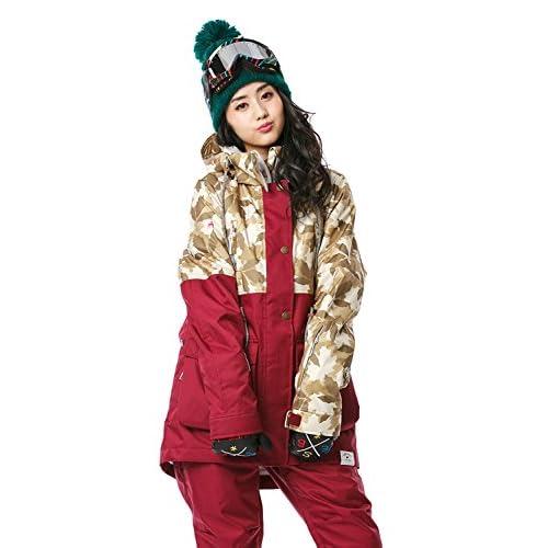 16'新作 43DEGREES スノーボードウェア スキーウェア スノボウェア レディース上下セット 100. Leaf camo × Burgundy Lサイズ