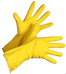 Surf 3 Pairs Rubber Hand Gloves Reusable Washing Cleaning Kitchen Garden (9 In) (color may vary)