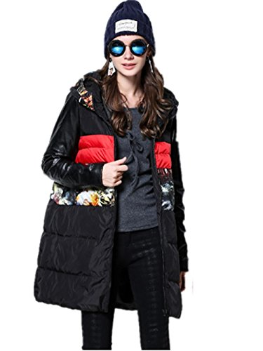XYXY Giù giacca donna stampa cotone abbigliamento (nero) . xxxxl