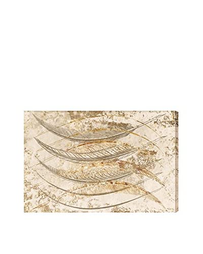 Oliver Gal Gold Feathers Canvas Art