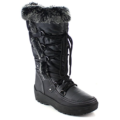 NATURE BREEZE FROST-01 Women's Stitching Faux Fur Lace Up Mid-Calf Snow Boots, Color:BLACK, Size:5.5