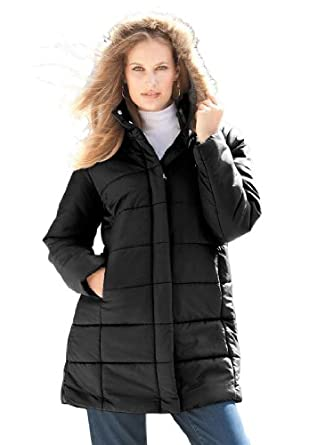 Roamans Women's Plus Size Quilted Short Parka (Black,1X)
