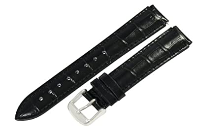 Black - 22mm Classic Croco Grain Watch Band Strap Fits Philip Stein Chronograph Watches from Clockwork Synergy, LLC