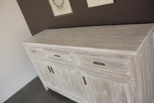 Madia buffet 3 ante stile shabby chic bianco effetto - Mobile bianco decapato ...