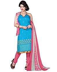 Latest Designer Collection Solid Embroided Festive Wear Cotton Blue Unstitched Branded Salwar Suit Dress Material for women girls ladies by Lookslady