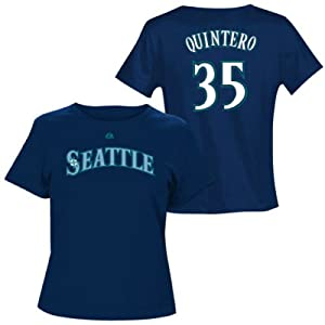 Humberto Quintero Seattle Mariners Navy Ladies Player T-Shirt by Majestic by Majestic
