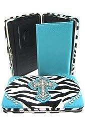 Zebra Print Western Rhinestone Cross Thick Flat Clutch Wallet Turquoise Blue