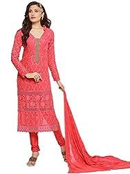 Suchi Fashion Peach Embroidered Chiffon Dress Material