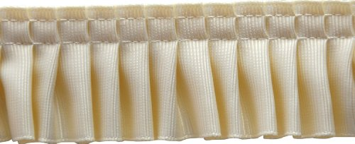 Pleated Trim Gathered Pleated Grosgrain Ribbon Roll, Cream, 25-Yard
