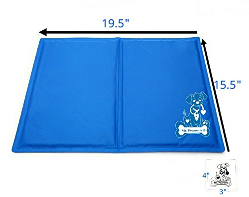 Mr. Peanut's Chill Pad, Pressure Activated Comfort Cooling Non-Toxic Gel Pet Mat, No Chilling Required, Perfect for Floors, Couches, Car Seats, Pet Beds & Kennels, 15.6″ x 19.5″
