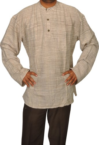 Handmade Casual Indian Khadi Mens Short Kurta Fabric For Winter & Summers Size-6XL