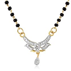 Mahi Gold Plated Virtuous Beauty Mangalsutra Pendant of Brass Alloy with CZ for Women PS1191948G
