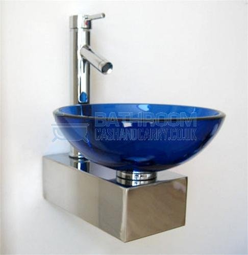 Cloakroom sink round glass wash basin small compact mini blue wall hung tap ebay - Glass cloakroom basin ...