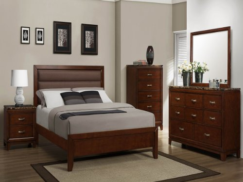 Bleeker 5 Pc Upholstered Eastern King Bedroom Set With Chest By Homelegance In Brown Cherry front-1072591