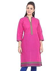 Adyana Women's Kurti (AD064_Pink_Large)