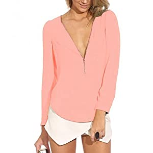 Womens Long Sleeve V Neck Zipper Sexy Chiffon Pullover Blouse T-shirt