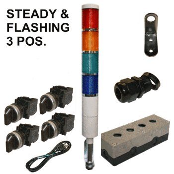 Led Tower Light Station Kit, Flashing Capable, 120V, Red/Yellow/Green/Blue , 3 Pos Steady/Off/Flashing