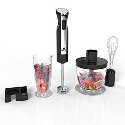 Royal 3-In-1 Hand Blender [200 Watts] - 2 Speed Food Processor/Chopper, Hand Mixer, and Smoothie Blender