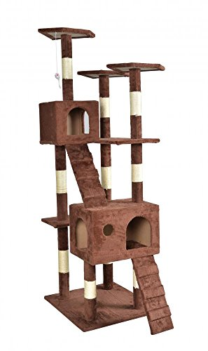 "New 73""Cat Tree Scratcher Play House Condo Furniture Toy Bed Post Pet House 9073 Brown"