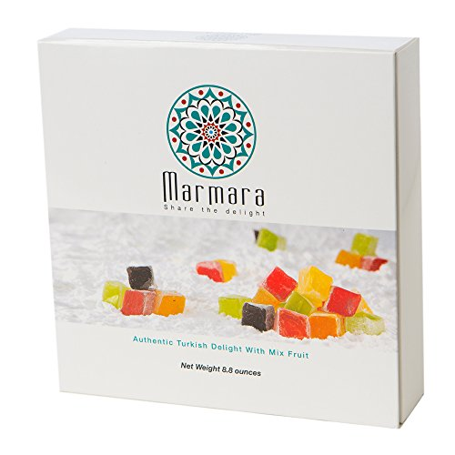Marmara Authentic Mini Turkish Delight with Mix Fruits, Sweet Confectionery Gourmet Gift Box Candy Dessert Large 8.8 oz (Caja De Aromas compare prices)