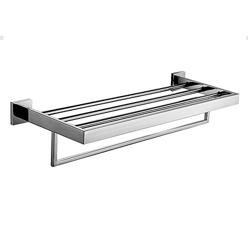 Taozun Towel Shelf with Towel Bar Stainless Steel Polished Chrome Bathroom Lavatory Double Bathroom Shelf Wall Mount (Hotel Towel Shelf Chrome compare prices)