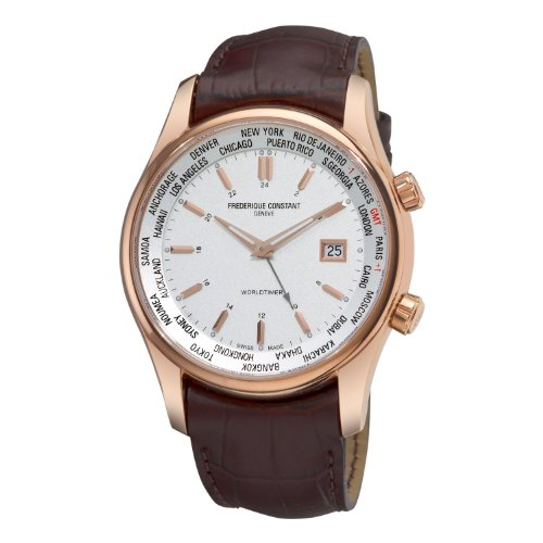 Frederique Constant Men's FC-255V6B4 Index Rosetone Case Brown Strap Watch