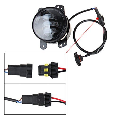 Led fog lights lamp adapter wires for and up jeep