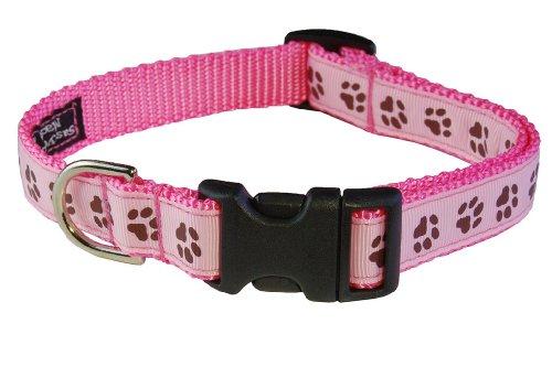 Sassy Dog Wear 13-20-Inch Pink/Brown Puppy Paws Dog Collar, Medium