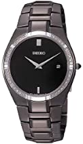 Seiko Black Steel Diamond Mens Dress Watch SKP339