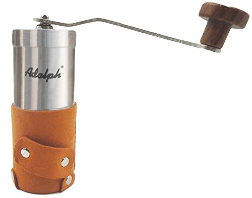 Adolph Manual Coffee Grinder with Leather Wrap, Hand Crank and Adjustable Ceramic Conical Burr