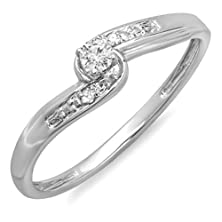 buy 0.10 Carat (Ctw) 10K White Gold Round Diamond Crossover Swirl Ladies 3 Stone Bridal Promise Engagement Ring 1/10 Ct (Size 7)